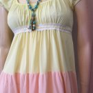 Vintage BOHO 70s Springtime Tiered Pastel Colorblock Nylon Maxi Nightgown Jrs by BARAD Sz 5