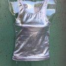 Sexy Glam Rock Vintage 80s 90s Shimmery Silver Metallic Lame Tank Top XXS