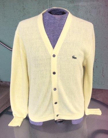 Vintage 60s 70s IZOD Alligator Preppy Men's Cardigan Yellow Golf Sweater Sz M SWANKY!