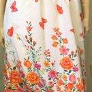 Retro 70s Style Springtime Butterfly Floral Border Print Boho Hippie Skirt Sz S Petite