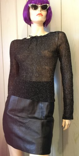 Vintage 90s Silver Glitter Sexy Sheer Black Mesh Fishnet Shimmery Lurex Top S/M