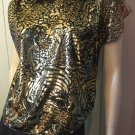 Vintage 80s Laura Winston Metallic Gold Lame' Wild Tiger Print Glam Top Sz M