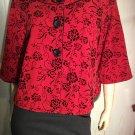 Retro Red Flocked Velvet Floral Print Swing Jacket Sz XL