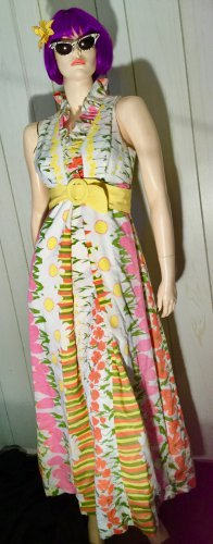 Ultimate Groovy Vintage 60s Psychedelic MOD Flower Power Springtime A-line Maxi Dress Sz S
