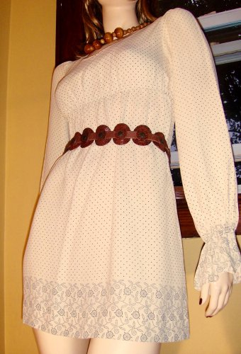 Vintage 60s Hippie-girl Swiss Dot Border Print Boho Babydoll Minidress S/XS