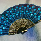 Oriental Inspired Embroidered Black Fabric TURQUOISE Sequins Handheld Foldable Fan