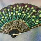 Oriental Inspired Embroidered Black Fabric GREEN Sequins Handheld Foldable Fan