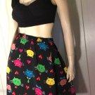 Vintage 90s Bob MACKIE Wearable Art Kitty Cat Novelty Print Designer Skirt L.