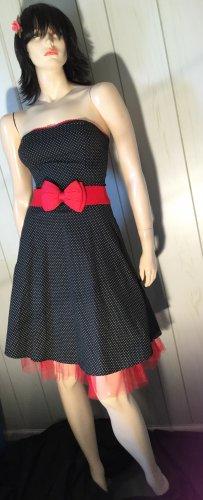 Ruby Rox Black Strapless Polka Dot Rockabilly Pinup Doll Retro Swing Dress Sz 7