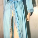 Vintage OLGA Sky Blue Lace Trimmed Full Length Nylon Robe Style 94007 S