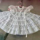 Vintage 50s 60s Little Girl's Sheer White Chiffon Frilly Embroidered Christening Dress