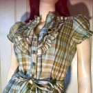 Retro Rockin Green Plaid Ruffle Babydoll Belted Top Sz M