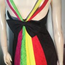 Vintage 80s Rimini BIG BOW Colorblock Rainbow Festival Party Dress SZ 6