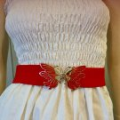 Vintage Boho 70s Super Groovy RED Butterfly Stretchy Cinch Belt