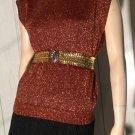 Vintage 70s DISCO Glitter GLAM Copper Metallic Sweater Vest Top JJ Browne M