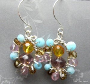 Sterling Silver Wire Wrapped Multi Colored  Earrings