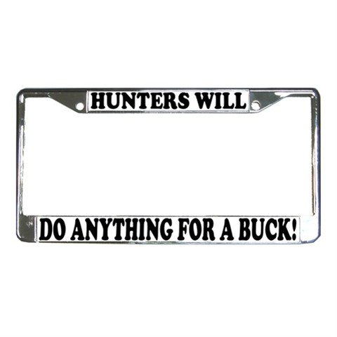 HUNTERS License Plate Frame Vehicle Heavy Duty Metal 12467265