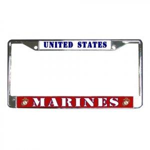 US MARINES License Plate Frame Vehicle Heavy Duty Metal 18600050