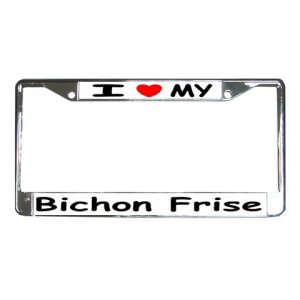 BICHON FRISE DOG License Plate Frame Vehicle Heavy Duty Metal 12148761