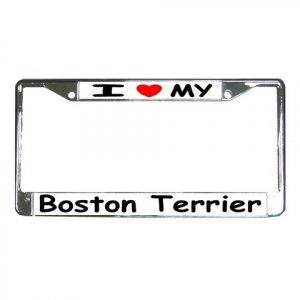 BOSTON TERRIER DOG License Plate Frame Vehicle Heavy Duty Metal 12148769