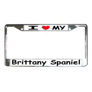 BRITTANY SPANIEL DOG License Plate Frame Vehicle Heavy Duty Metal 12239528