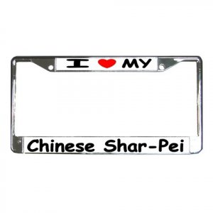 CHINESE SHAR PEI  DOG License Plate Frame Vehicle Heavy Duty Metal 12239540
