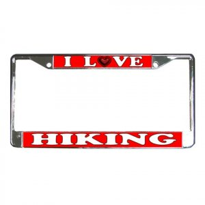 I LOVE HIKING License Plate Frame Vehicle Heavy Duty Metal 21360166