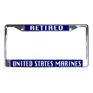 RETIRED US MARINES License Plate Frame Vehicle Heavy Duty Metal 27633782