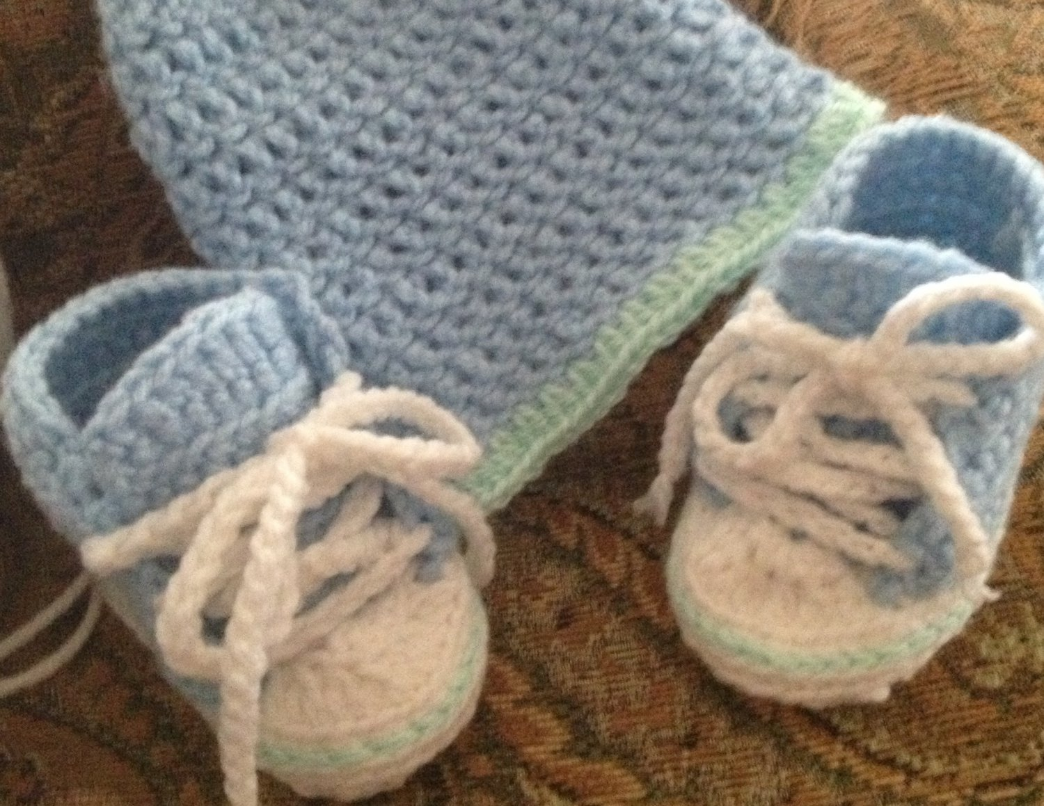 High-Top Sneaker Booties & Hat Set: 0-3 months