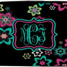 Personalized Laptop Sleeve -Hot pink  and Teal Floral