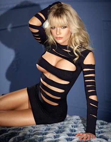 Hot Sale Sexy Summer Fashion Women Black Long Sleeve Club Wear Hollow Out Bodycon Dress W5218