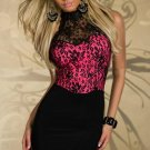 Hot Sale Fashion Women Charming High Neck Embroidered Bodycon Dress Rose W203105