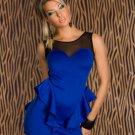 2016 Hot sale Sexy Blue Black Mini Pepulm Women dress W203700