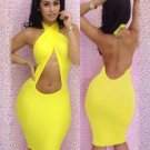 Sexy Club Halter Neck Backless Midi Dress for Women Factory Price Bodycon Dress W3715C