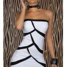 Women White Bodycon Strapless Dress Off-shoulder Sexy Clubwear W203453