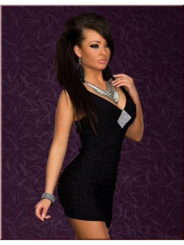 Hot Sale Sexy Clubwear Bodycon Dress Mini Black Women Deep-V Dress W3460
