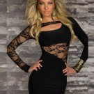 2016 Hot Sale Sexy Summer Fashion Dress Long Sleeve Lace Cut-out Club Dress W203038A