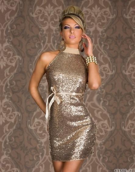 Brown Charming Women Turtleneck Backless Sparkling Halter Sleeveless Clubwear Dress W84320A