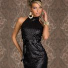 Fascinating Black Charming Turtleneck Backless Sparkling Halter Sleeveless Clubwear Dress W84320A