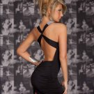 Hot Sale Sexy Clubwear Backless Dress Mini Black Women Deep-V Dress W203416C