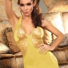 Sexy Lady Gold V-neck Halter Lace Sleeveless Bodycon Summer Dress W208005