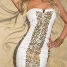 New Arrival White Sexy Off-Shoulder Strapless Sequin Women Fashion Mini Dress W203124