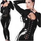 Lace Up Black Fetish Gothic Faux Leather Jumpsuit PVC Catsuit Vinyl Sexy Club Jumpsuit W7743