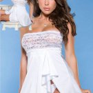 White Lace Sexy Teddy White Strapless Chemise Women Sexy Babydoll Lingerie W5259
