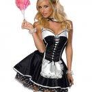 Black French Apron Maid Servant Lolita Costume Dress Uniform W2012