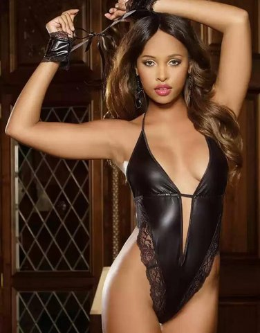 Faux Leather Onesies Sexy Teddy Lingerie W6579