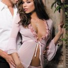 Sheer Fly Away Pink Woman Chemise with Flowers W5214