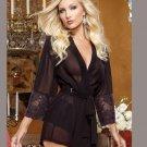 Long Sleeve Black Transparent Nightie Allure W385495A