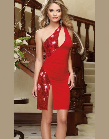 Fashion Sequined Hollow Out Sexy Red Christmas Mini Dress W6262