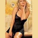 Sexy Mesh Cups Open Front Zipper Black Bustier Lingerie with G-strings W5493